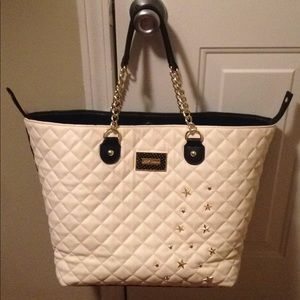 Betsey Johnson black and cream large trap tote bag